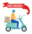 fast delivery man on moped on vector image vector image