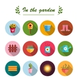 Garden flat icons white background vector image