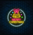 glowing neon christmas sign with christmas bell vector image