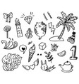 hand-drawn cute doodle set isolated on white vector image