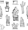 handdrawn seamless pattern with cacti pattern vector image