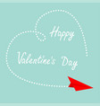 happy valentines day red flying origami paper vector image vector image