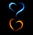 heart from red and blue fire vector image