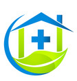hospital health with environmental leaf icon vector image vector image