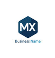 initial letter mx logo template design vector image