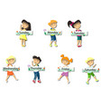 kids with cards saying days of the week vector image vector image