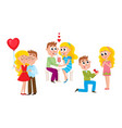 loving couple - kissing dating making proposal vector image