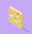 low poly isometric bookcase realistic icon vector image vector image