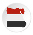 map of egypt in egyptian flag colors icon circle vector image