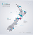 new zealand map with infographic elements pointer vector image