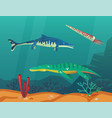 ocean or sea with underwater dinosaurs or dino vector image