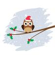 owl santa hat vector image vector image