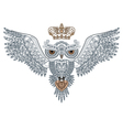 owl tattoo with crown and heart vector image
