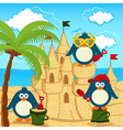 penguin built sand castle vector image