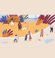 people walking and spend time together at autumn vector image vector image