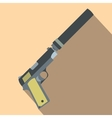 Pistol with silencer flat icon vector image vector image