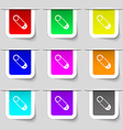 Pushpin icon sign Set of multicolored modern vector image vector image