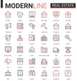 real estate thin red black line icon vector image vector image