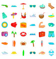 relaxation icons set cartoon style vector image vector image