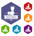 renovation service icons hexahedron vector image vector image