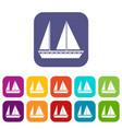 sailing boat icons set vector image vector image