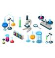set chemical medical laboratory lab equipment vector image