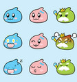 set of cute slime expression game characters vector image