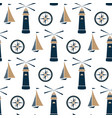 ship lighthouse and sea compass seamless pattern vector image vector image