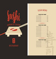 sushi menu with tray chopsticks and price list vector image