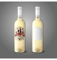 Two realistic bottles for white wine with labels vector image vector image