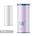 white glossy paper tube with plastic lid vector image