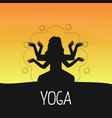 yoga banner template with silhouette multi vector image
