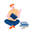 young man student sitting with books learning vector image vector image