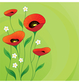 Retro summer background with Poppies vector image
