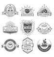 set of nine coffee logo templates coffee labels vector image