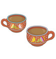 two clay cups vector image