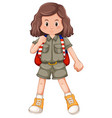 a camping girl character vector image vector image