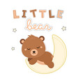 adorable little bear sleeping on the moon vector image vector image