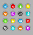 america colored plastic round buttons icon set vector image