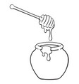 black and white cartoon pot honey vector image
