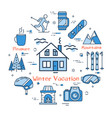 blue winter vacation in mountains concept vector image vector image