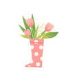 bouquet pink tulips in pink rubber boot hello vector image