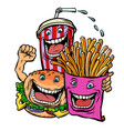 burger cola drink fries potatoes fast food vector image vector image