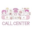 Call Center Work Elements Creative Sketch vector image
