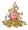 cartoon piggy bank among falling coins on big pile vector image