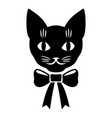 cat muzzle with bow vector image vector image