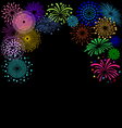 Colorful Fireworks frame on black background vector image vector image