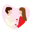 couple in love holding mugs in hand and talk for vector image vector image
