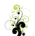 curly floral background vector image