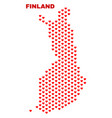 finland map - mosaic of heart hearts vector image vector image
